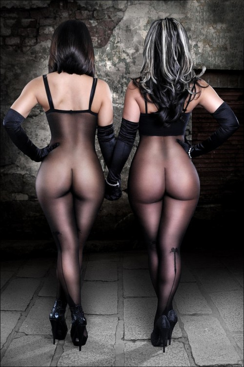 Big butts in pantyhose bodysuits