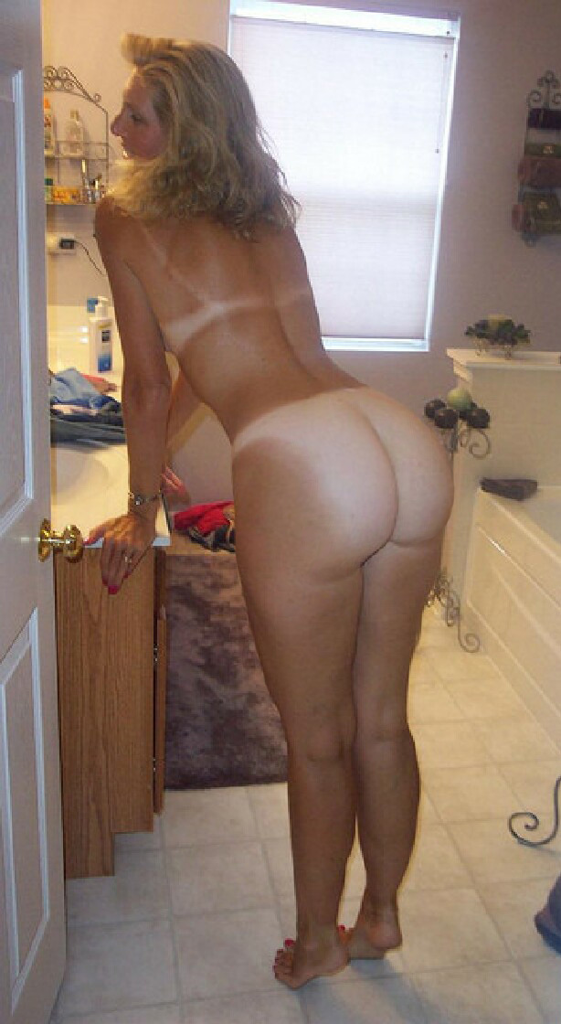 Butt naked nude showing tan underwear white